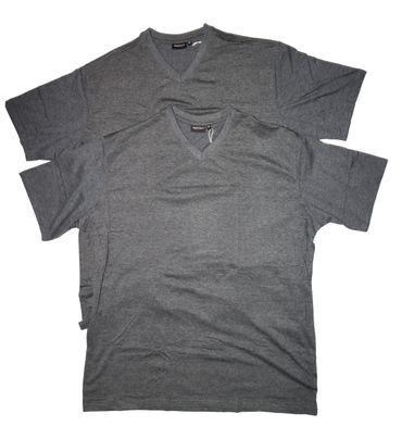 Basic T-Shirt mit V-Ausschnitt im Doppelpack von Redfield in anthra. melange