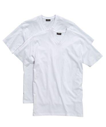 Redfield T-Shirt mit V-Neck im Doppelpack in Herrenübergrößen in weiß