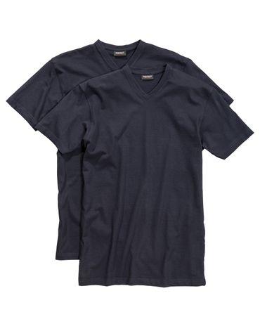 Doppelpack T-Shirts mit V-Ausschnitt in Übergröße bis 10XL von Redfield in navy