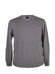 V-Neck Pullover von Refield, grey mel. 001