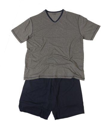 Moderner Shorty- Schlafanzug mit V-Neck, grau/navy