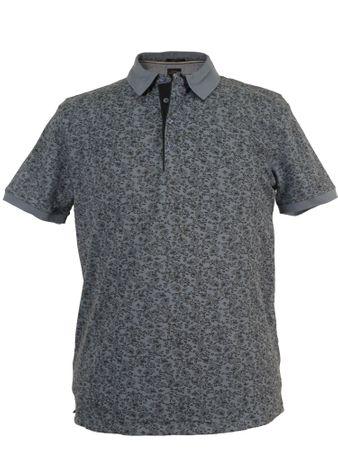 Poloshirt mit Paisleymuster von Kitaro, grau-blau
