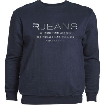 Rundhals Sweatshirt in großen Größen, navy
