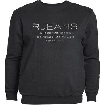 Rundhals Sweatshirt von Replika in Herrenübergrößen, schwarz