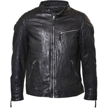 Biker Jacke aus Lamm Leder von Replika, schwarz – Bild 1