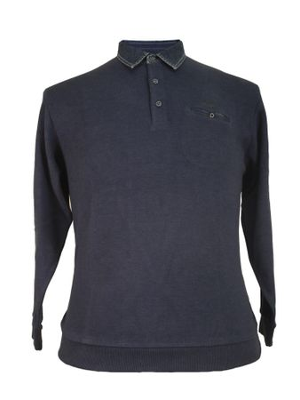 Polo-Sweat Shirt mit Jeanskragen von Monte Carlo in jeansblau