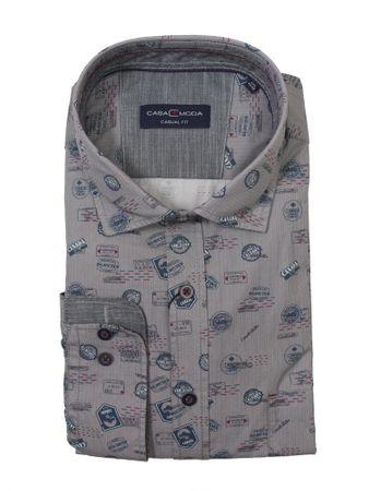 CasaModa Langarmhemd in Herrenübergröße, hellgrau