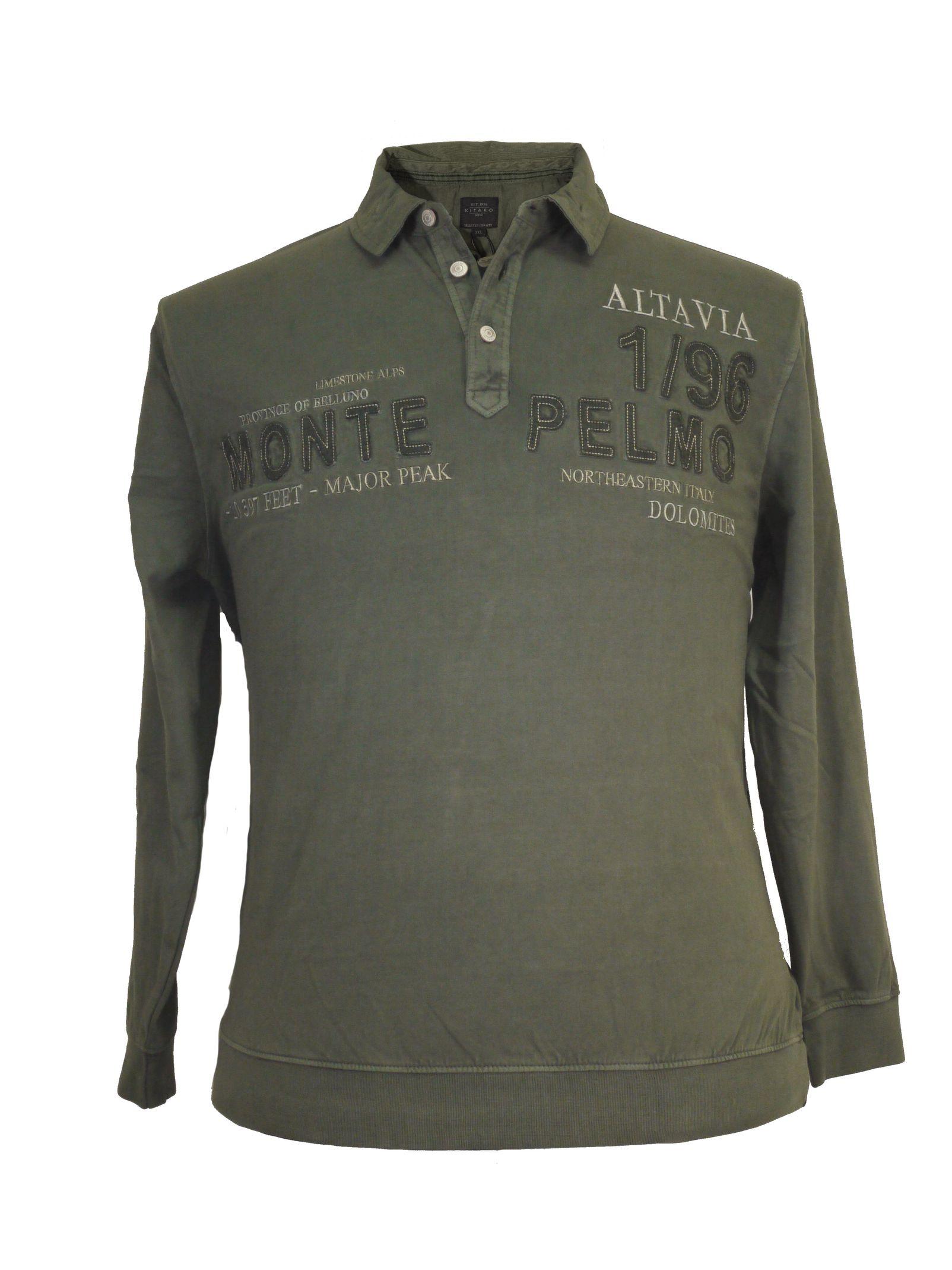 Einzelhandelspreise Junge letzter Rabatt Besticktes Polo- Sweatshirt von Kitaro in Übergrößen, oliv