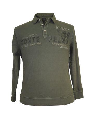 Besticktes Polo- Sweatshirt von Kitaro in Übergrößen, oliv
