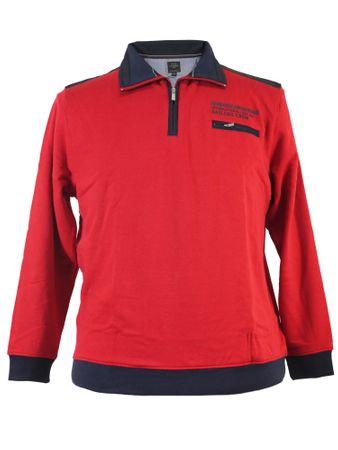 Sweatshirt mit Kragen von Kitaro in XXL Größen, rot