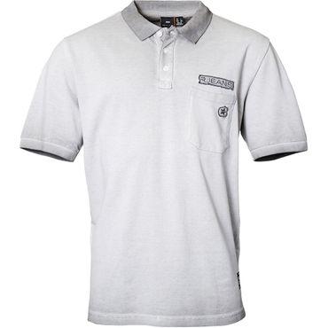XXL Polo-Shirt mit Applikation von Replika Jeans in grau – Bild 1