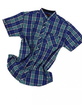 Kariertes Kurzarmhemd von Kamro in Übergröße bis 10XL, türkis/blau