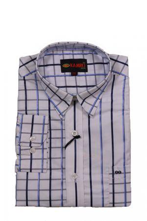 Langarmhemd von Kamro in großen Größen, weiß/blau gestreift