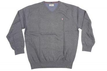 Baumwoll-Pulli mit V-Ausschnitt in größen Größen, grau