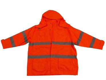Wasserdichte Warnschutzjacke in Herrenübergrößen hergestellt nach EN-471, orange