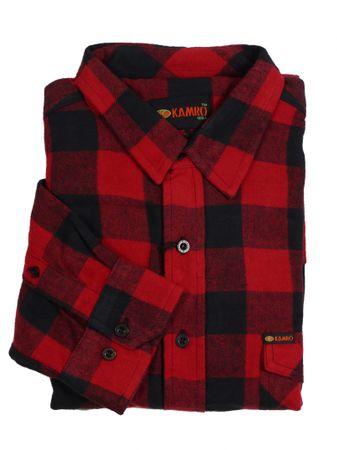 Holzfäller-Langarmhemd von Kamro bis Übergröße 10XL, rot