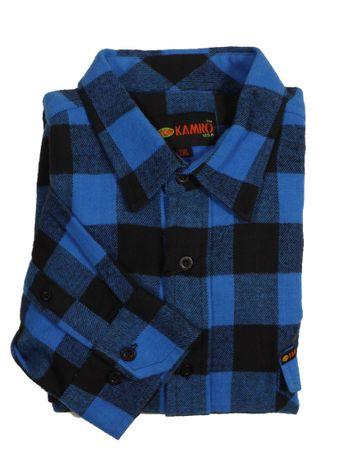 Holzfäller-Langarmhemd von Kamro bis Übergröße 10XL, blau