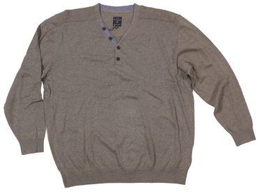 Stick- Pullover mit V-Ausschnitt und Knopfleiste von Kitaro, beigemelange