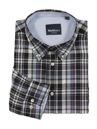 Kariertes Button-Down Hemd von Allsize, schwarz