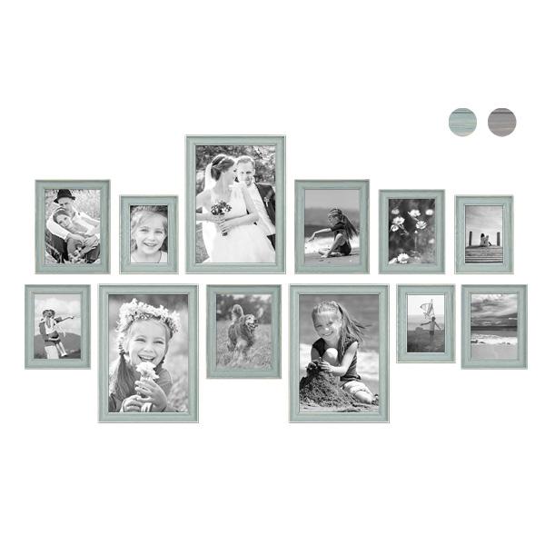 12er Bilderrahmen-Set mit Fotos Skandinavisch