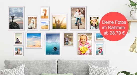 Fotowand aus gerahmten Bildern Beispiel