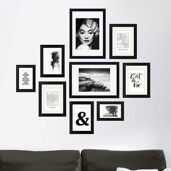 Wände dekorieren mit Bilderrahmen schwarz-weiss