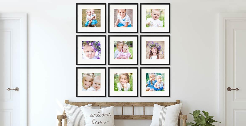 Bilderrahmen für Familienfotos im Flur