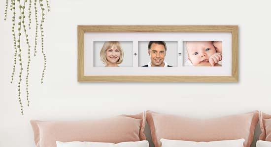 Bilderrahmen für Familienfotos im Schlafzimmer