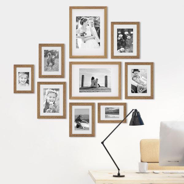Arbeitszimmer einrichten mit Bilderrahmen-Set Eiche