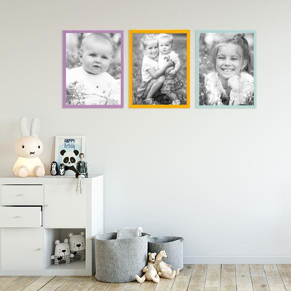 Wanddeko Kinderzimmer bunte Bilderrahmen