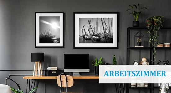 Arbeitszimmer einrichten mit Bilderrahmen