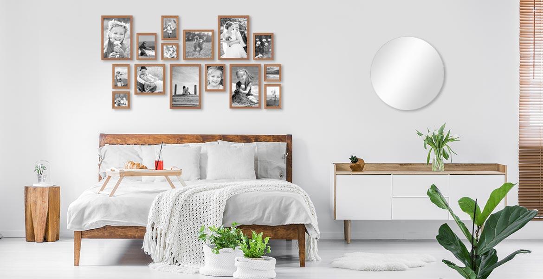 Wandgestaltung Schlafzimmer mit Bilderrahmen-Set Landhaus