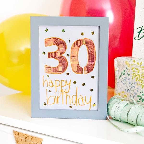Geldgeschenk zum Geburtstag Beispiel Bilderrahmen
