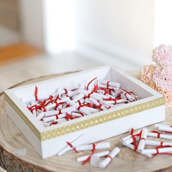 Hochzeitdeko Ideen weißer Bilderrahmen