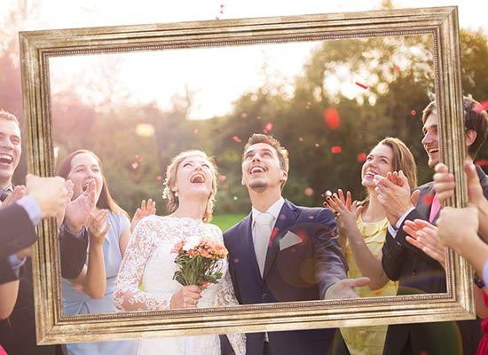 Hochzeitdeko Ideen Hochzeitsrahmen gold