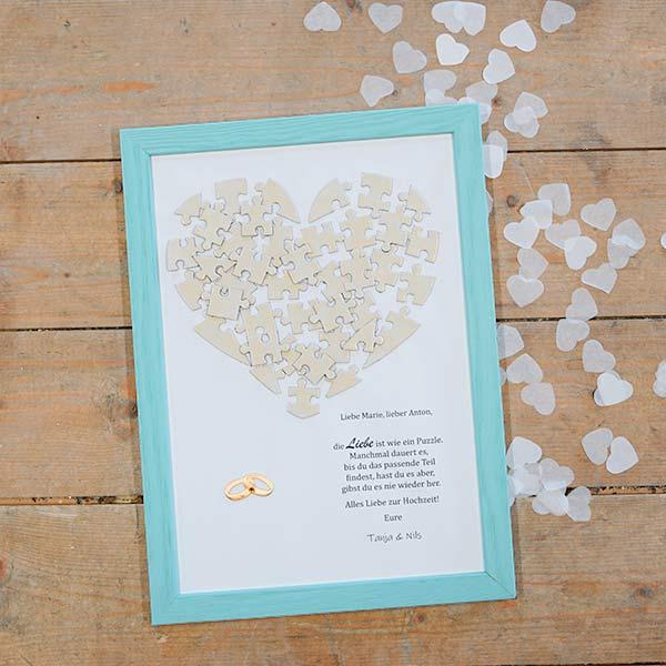 Originelle Hochzeitsgeschenkideen Glückwünsche im Bilderrahmen