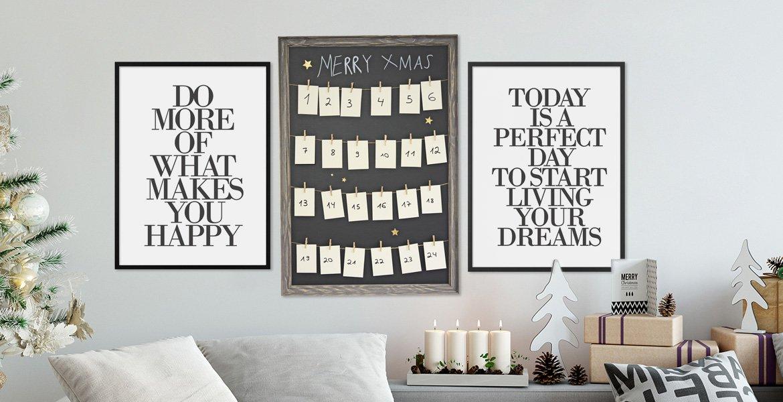 Weihnachtsdeko Adventskalender und Poster in Bilderrahmen