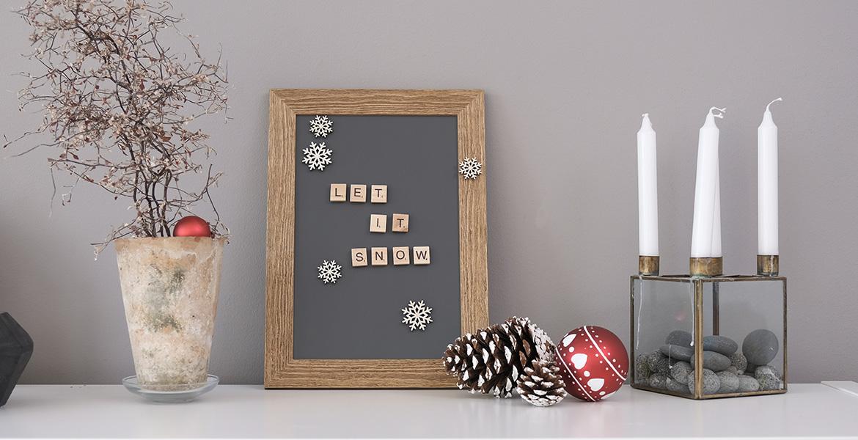Weihnachtsdeko Schneeflocken Bilderrahmen und Deko