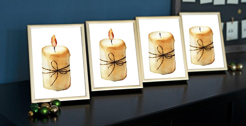 Weihnachtsdeko basteln vier Bilderrahmen mit Kerzenmotiv