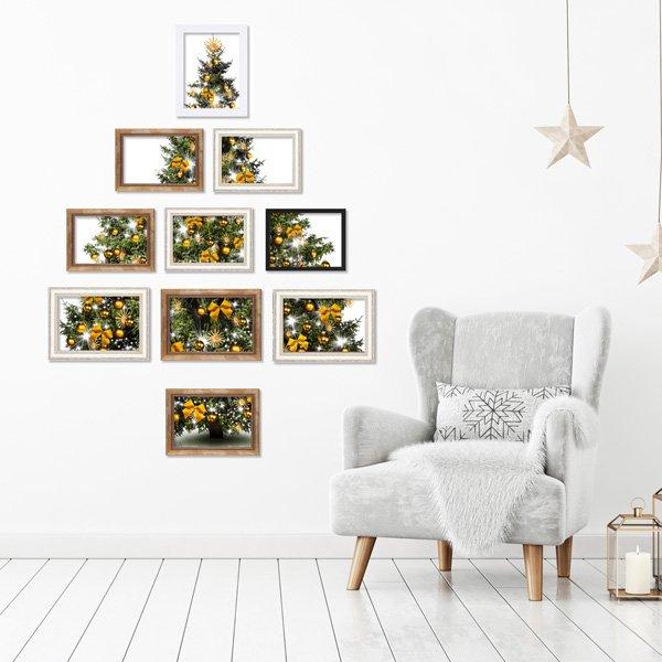 Weihnachtsdeko basteln Tannenbaum aus Bilderrahmen