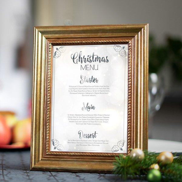 Weihnachtsdeko basteln Menükarte im Bilderrahmen