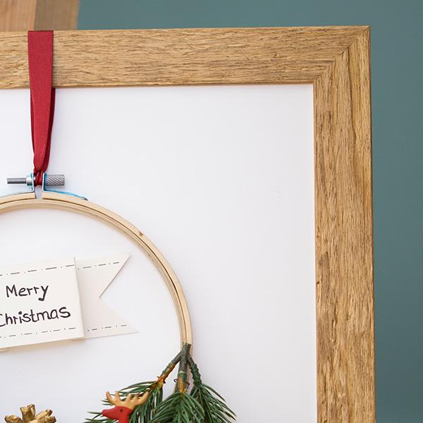 Weihnachtsdeko Weihnachtskranz obere Bilderrahmenecke