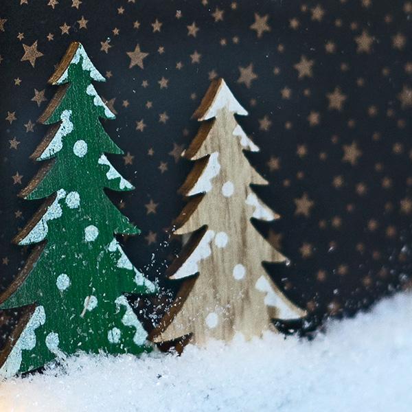 Weihnachtsdeko beleuchteter Bilderrahmen kleine Tannenbäume