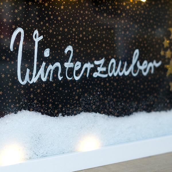 Weihnachtsdeko beleuchteter Bilderrahmen Winterzauber Schrift