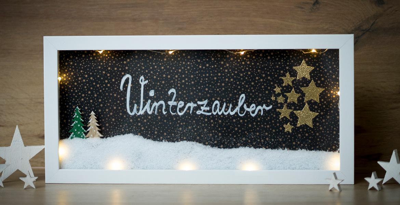 Weihnachtsdeko beleuchteter Bilderrahmen Winterzauber Objektrahmen
