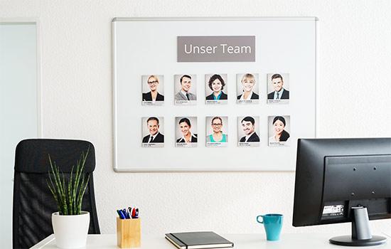 Magnet-Fotowand für Firmen Beispiel