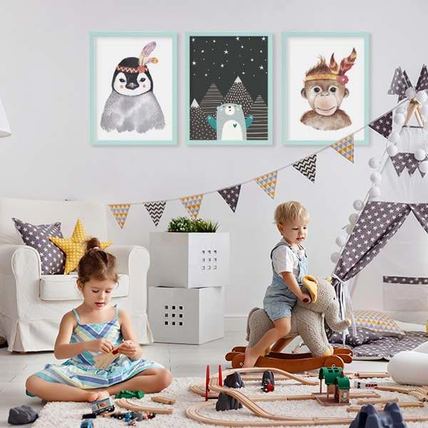 Pressemitteilung Wandgestaltung 3er Poster-Set Kinderzimmer
