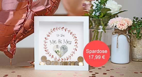 Hochzeit Geschenkideen Geld in der Bilderrahmen-Spardose