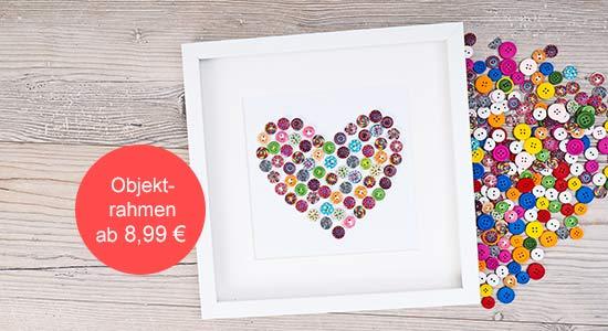 Valentinstag Geschenk Objektrahmen DIY Idee mit Knöpfen