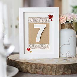 Hochzeitsdeko Idee Tischnummer im Bilderrahmen